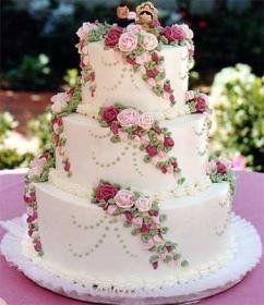 Торты с розами свадебные