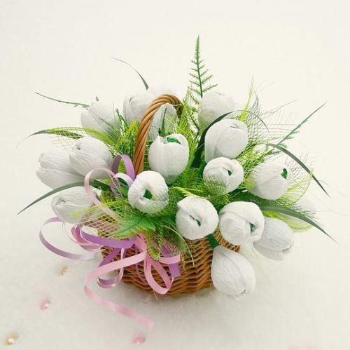 Букет цветов с конфет
