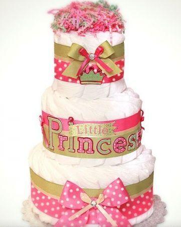 Торт из памперсов для девочки - подарок на Крестины